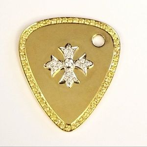 Jewelry - 14CT yellow gold custom guitar pick and necklace